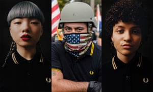 Fred Perry shirts worn by models on left and right, and worn by a so-called Proud Boy, centre