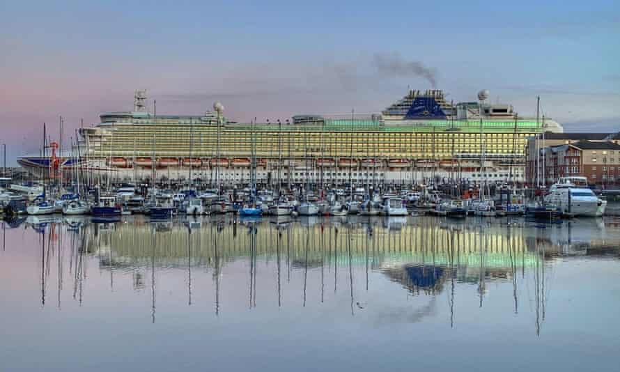 The P&O cruise ship Azura docked in the marina at North Shields, England.