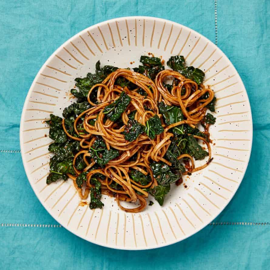 Meera Sodha's burnt garlic, black bean and cavolo nero noodles.