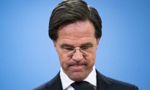 Mark Rutte appears at a press conference in The Hague