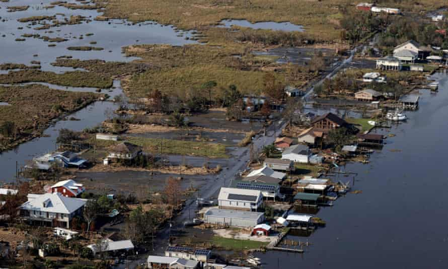 View of flood damaged buildings in Louisiana after Hurricane Ida.