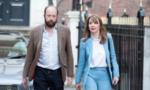 Nick Timothy and Fiona Hill leaving Conservative party HQ earlier today.