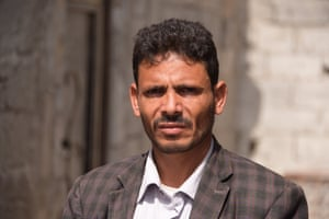 Majed Al Wahidi at his destroyed house in Hodeidah, where four of his daughters were killed and another two injured in November 2018.