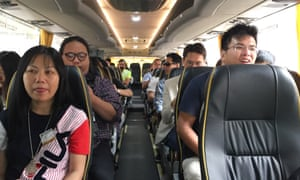 Passengers onboard one of the first cross-border coaches to travel over the HKZMB