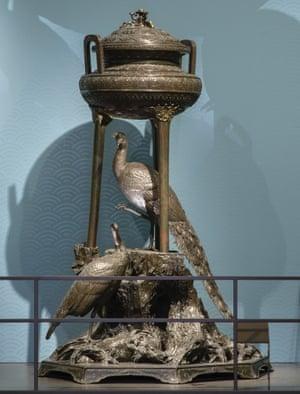 A bronze incense burner, 1877-78 on show at the V&A.