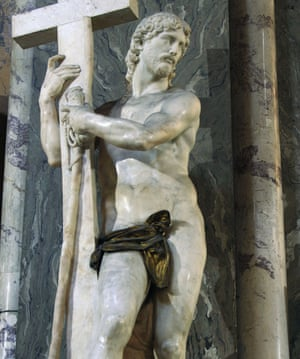 Michelangelo's statue of the Risen Christ in Santa Maria sopra Minerva in Rome, with a loincloth added after Michelangelo's death.