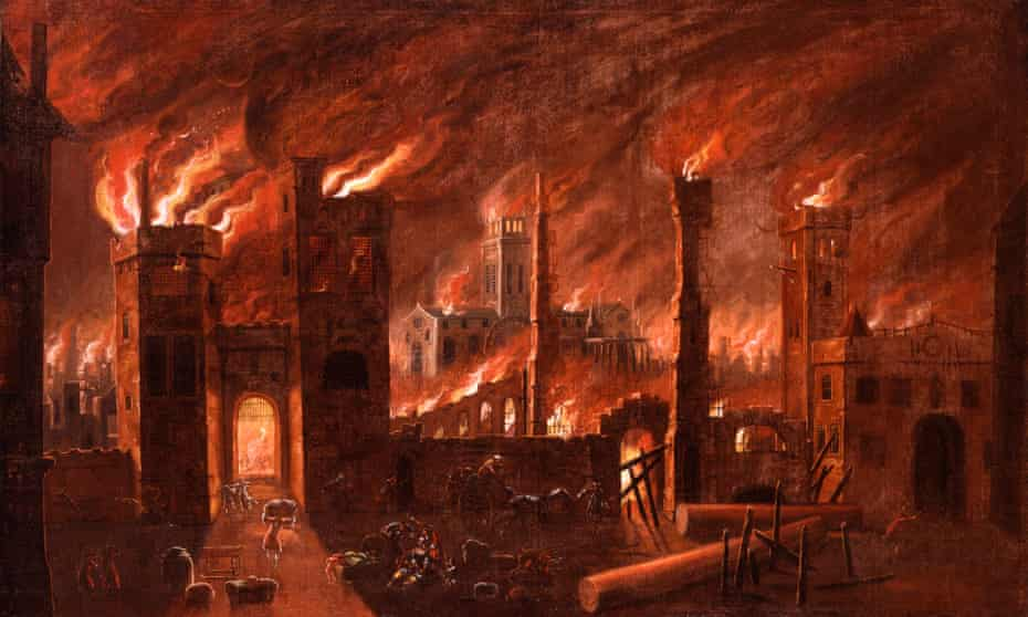 Oil painting of the Great Fire of London, seen from Ludgate, in the Fire! Fire! exhibition at the Museum of London.