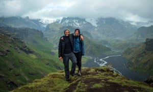 Fares and Sarah, pictured hiking in Iceland. The couple have been kept apart by Coronavirus border restrictions.
