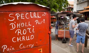 roadside dholl puri stall in Grand Baie, Mauritius.