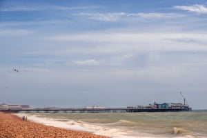 A near-deserted Brighton beach in East Sussex.