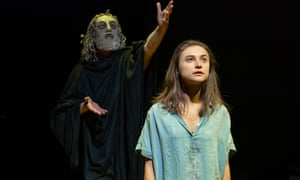 Isabella Nefar as Jude, with Paul Brennen as Euripides, in Jude at Hampstead theatre.