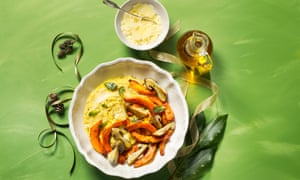 Roasted onion squash and cep with sage, soft parmesan polenta and mascarpone