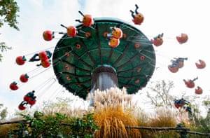 Burgenland, AustriaVisitors aboard the Apple ride at the Family Neusiedler amusement park near Sank Margarethen.