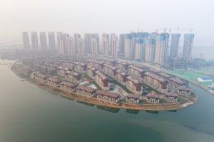 New homes and high rise buildings built on reclaimed land in eastern Tianjin