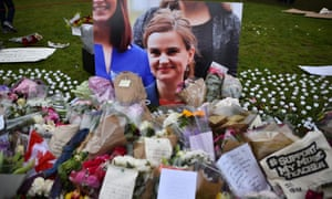 Flowers and tributes to Jo Cox in Westminster, London, on Saturday