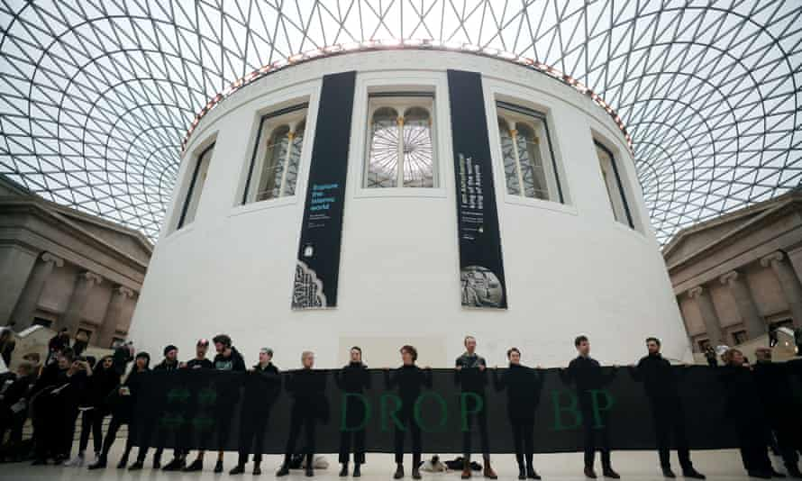 Demonstrators protest at the British Museum against BP's sponsorship of exhibitions in February.