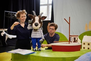 Lizzie Wort and Gilbert Taylor work with the goat character