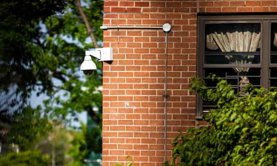 One of the surveillance cameras on the property at the Atlantic Plaza Towers apartments complex in Brooklyn, New York.
