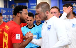 Tottenham team-mates Moussa Dembele of Belgium and Eric Dier of England in the tunnel. Dier is captaining England tonight.