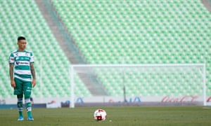 Brian Lozano of Santos looks on during the 10th round match between Santos Laguna v Necaxa as part of the Torneo Clausura 2020 Liga MX at Corona Stadium on 15 March 2020 in Torreon, Mexico.