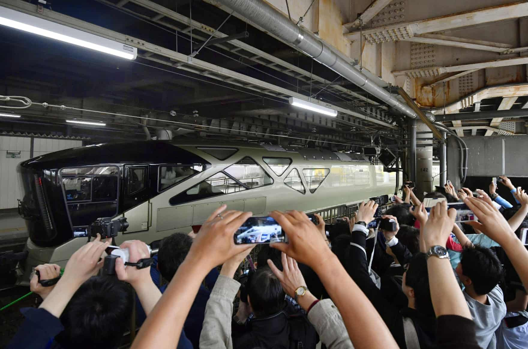 The sleeper train makes its debut at Ueno station in Tokyo for a four-day trip to north-eastern Japan