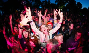 Crowd in front of the main stage at Larmer Tree Festival, uk.