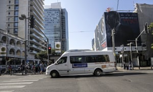 The first public bus operated on Shabbat, drives through central Tel Aviv.