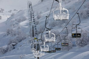 A snow-covered cable car at the Mount Hermon ski resort, in the Israeli-occupied Golan Heights.