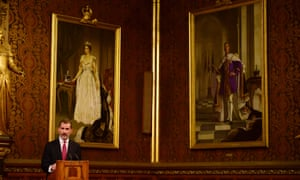 Spain's King Felipe delivers a speech at the Palace of Westminster.