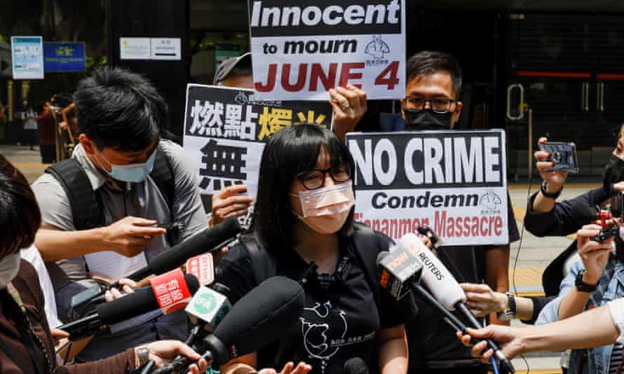 Protesters outside a Hong Kong court condemn sentences for those participating in Tiananmen Square anniversary vigils.