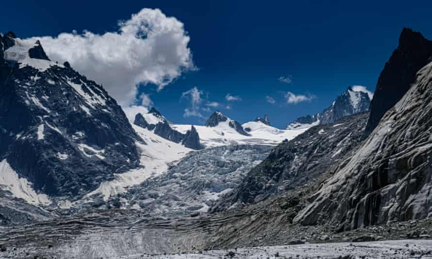 Signs of global warming on the Mer de Glace glacier in the French Alps.