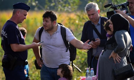 A father with his pregnant wife and his daughter asks for permission to enter Hungary.