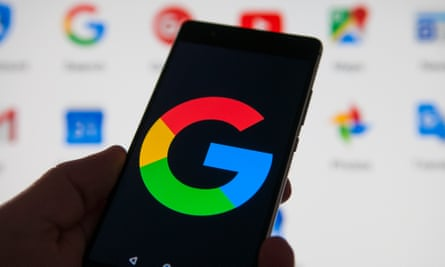 A Google logo on an Android phone