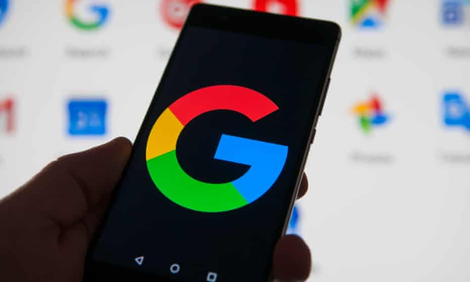 A Google logo is seen on an Android device