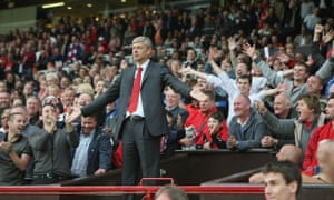 Arsène Wenger is sent to the stands during the Premier League match between Manchester United and Arsenal at Old Trafford in August 2009.