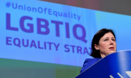 The European commissioner Věra Jourová presents the bloc's strategy in Brussels. Proposals include criminalising hate speech against LGBTQ+ people.