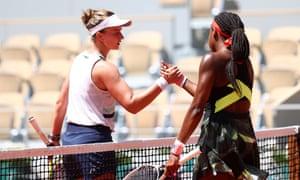 Barbora Krejcikova is congratulated ny Coco Gauff.