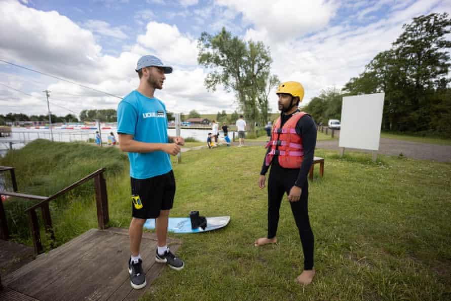 Rhik Samadder takes wakeboard instructions from Denis