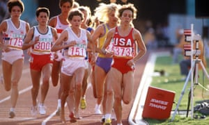 Mary Decker (right, in red USA singlet) and Budd (centre, shoeless) in the women's 3,000m final at the 1984 Olympic Games in Los Angeles, just before their famous collision.