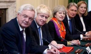 David Davis, Boris Johnson, Theresa May, Philip Hammond and Amber Rudd
