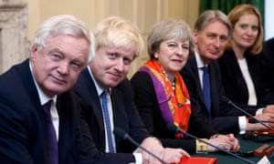 Between Brexit and remain: May flanked by pro-leave Davis and Johnson and pro-EU Hammond and Rudd.