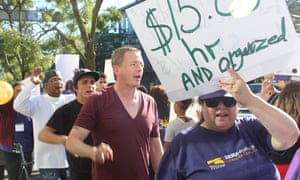 David Rolf at a minimum wage rally.