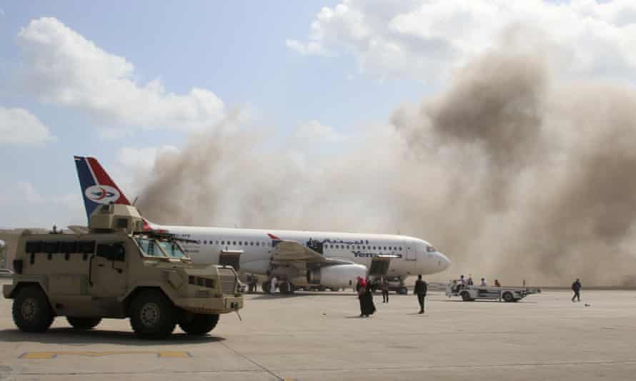 Dust rises after explosions at Aden airport, Wednesday