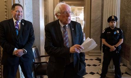 Bernie Sanders heading to the Senate chamber on 26 April.
