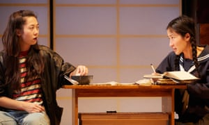 Kirsty Rider as Hanako and Kae Alexander as her sister, Reiko, in The Great Wave by Francis Turnly.