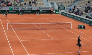 There were plenty of seats available on court during the match.