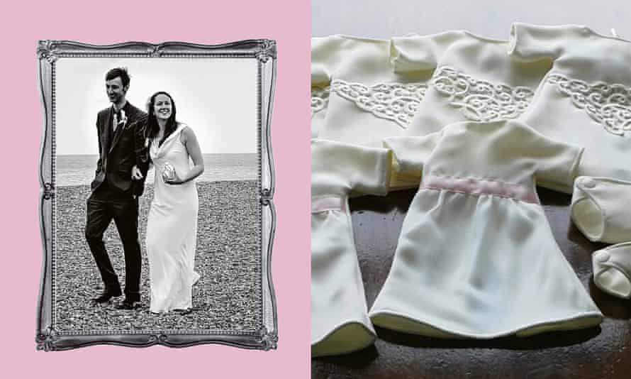 Funeral gowns for babies (right) made from Georgia Keogh-Horgan's wedding dress (left).