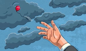 Illustration, of tiny red Labour balloon struggling intop the sky, by Eva Bee