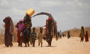Somalis forced to leave their homes because of drought head drought head for makeshift camps in Baidoa
