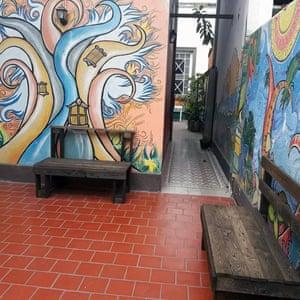 Courtyard at Rosario Inn Hostel, Argentina.